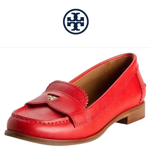 Tory Burch Shoes Red Leather Penny Loafers Flats Poshmark